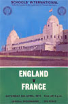 The 1974 England v France International Schoolboy matchday programme cover