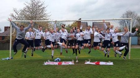 ESFA International Girls' team celebrating